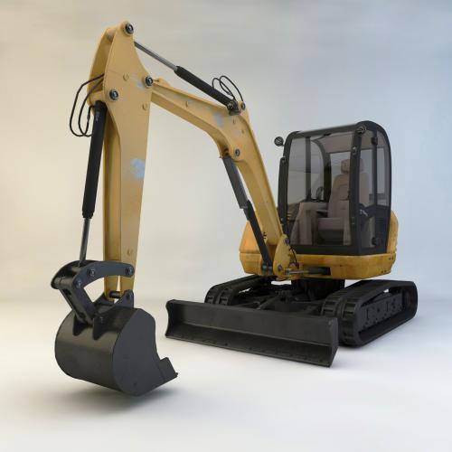 小型挖掘机模型C4D 3DMAX OBJ CAD