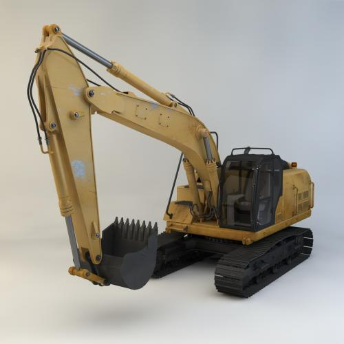 履带挖掘机模型C4D 3DMAX OBJ CAD