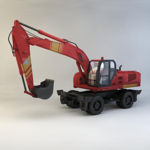 胶轮挖掘机模型C4D 3DMAX OBJ CAD