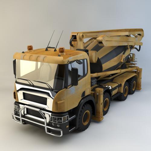混凝土搅拌罐车模型C4D 3DMAX OBJ CAD