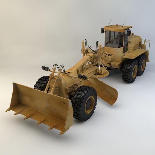 平路机铲雪车模型C4D 3DMAX OBJ CAD