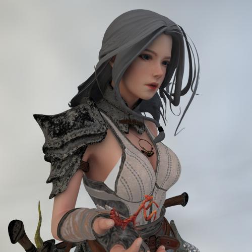 游戏女角色模型C4D 3DMAX