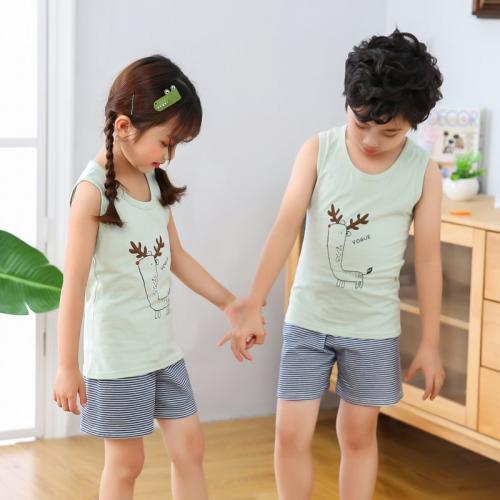 2020新款男童装儿童背心短裤套装