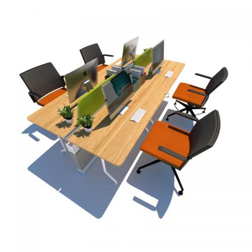 4人办公桌办公室工位SU