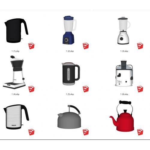 厨房电器 水壶 热水壶 热水器 暖瓶 豆浆机 破壁机 蒸蛋器外观SU