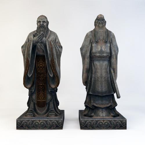 国学 孔子雕塑 3DMAX C4D