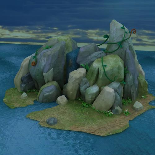 游戏 卡通海岛场景 3DMAX