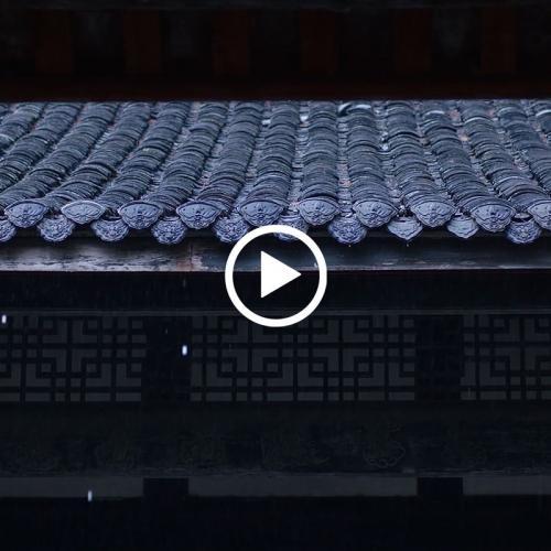 实拍 江南水乡雨天古街风景 MP4