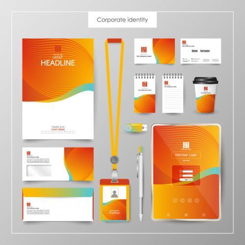 暖色橙色商业品牌VI作品EPS